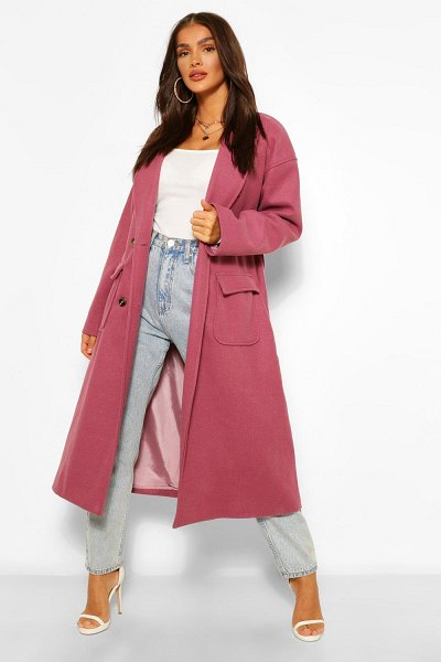 Boohoo Double Breasted Belted Wool Look Coat in plum