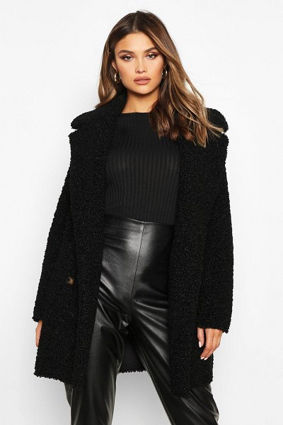Boohoo Double Breasted Bonded Faux Fur Teddy Coat in black