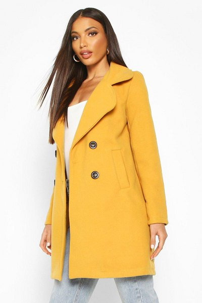 Boohoo Double Breasted Collared Wool Look Coat in mustard