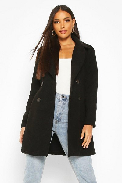Boohoo Double Breasted Collared Wool Look Coat in black