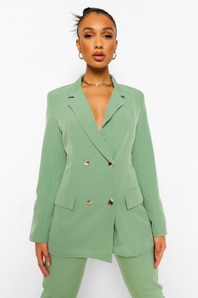 Boohoo Double Breasted Fitted Blazer in light khaki