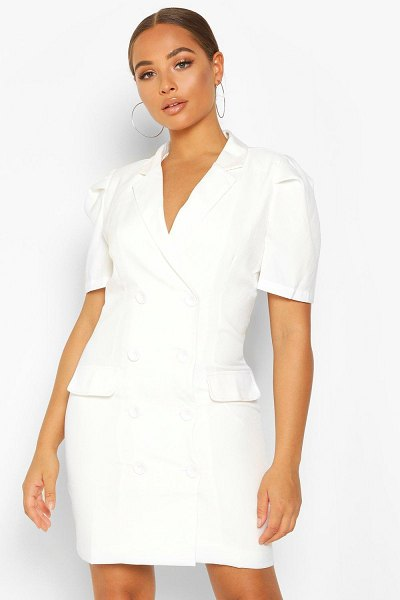 Boohoo Double Breasted Puff Shoulder Blazer Dress in ivory
