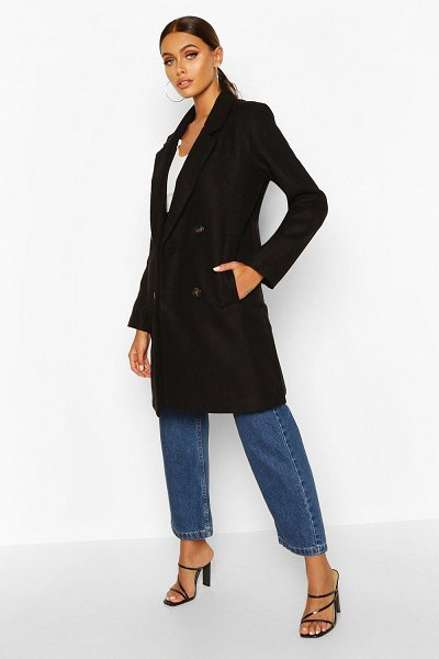 Boohoo Double Breasted Slim Fit Wool Look Coat in black
