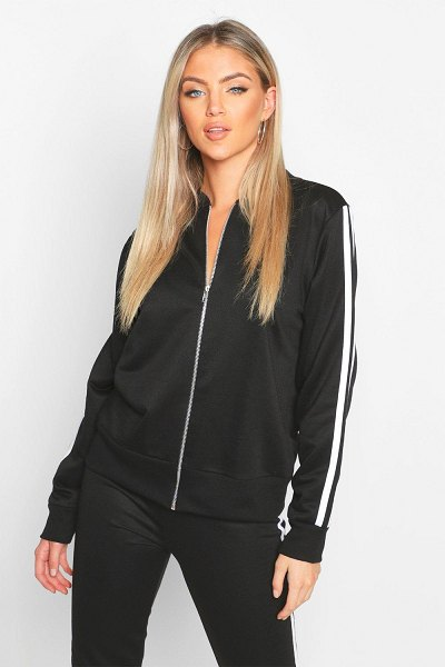 Boohoo Double Side Stripe Loopback Bomber Jacket in black
