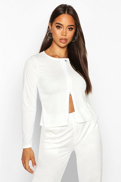 Boohoo Double Zip Up Ribbed Top in off white