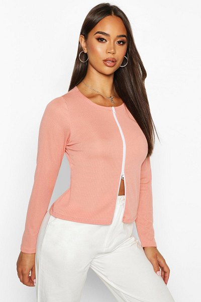 Boohoo Double Zip Up Ribbed Top in blush