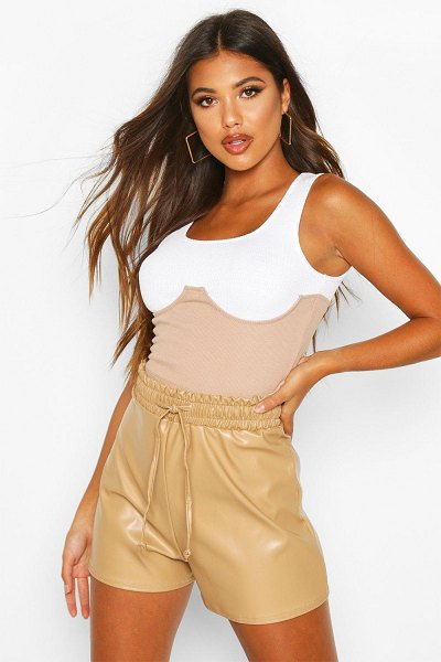 Boohoo Elasticated Waist Leather Look Shorts in sand