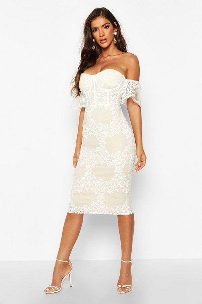 Boohoo Embroidered Off Shoulder Midi Dress in white