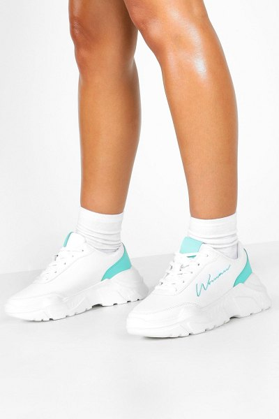 Boohoo Embroidered Woman Slogan Chunky Sneakers in green