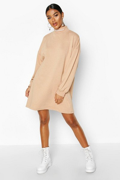 Boohoo Essentials Embroidered Funnel Neck Sweat Dress in camel