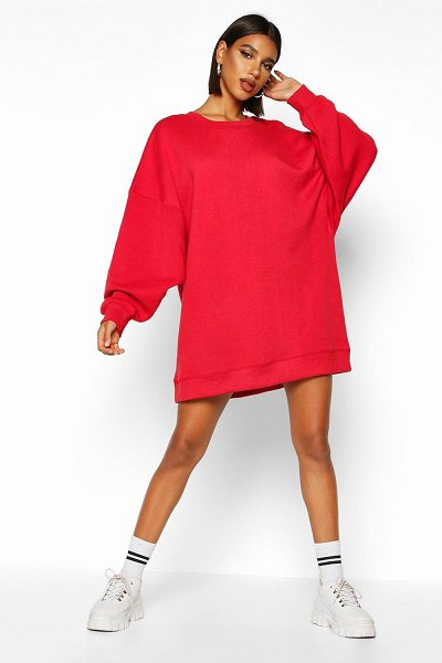 Boohoo Extreme Oversized Crew Neck Sweat Dress in red