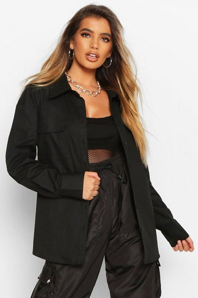 Boohoo Extreme Oversized Utility Shirt in black