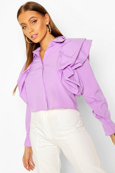 Boohoo Extreme Ruffle Detail Shirt in lilac