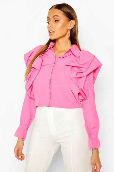 Boohoo Extreme Ruffle Detail Shirt in pink
