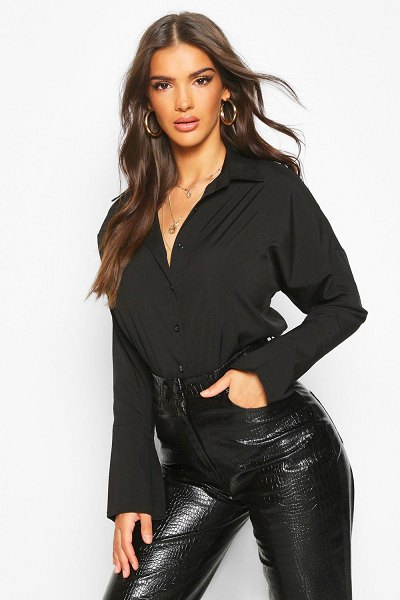 Boohoo Extreme Wide Cuff Shirt in black