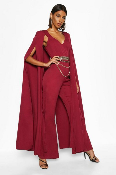 Boohoo Extreme Wide Leg Jumpsuit in burgundy