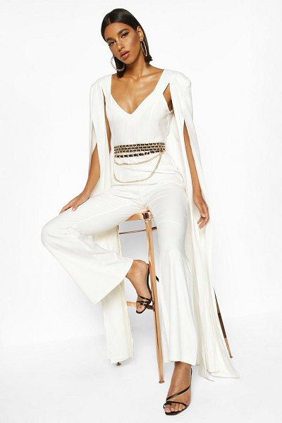 Boohoo Extreme Wide Leg Jumpsuit in ivory