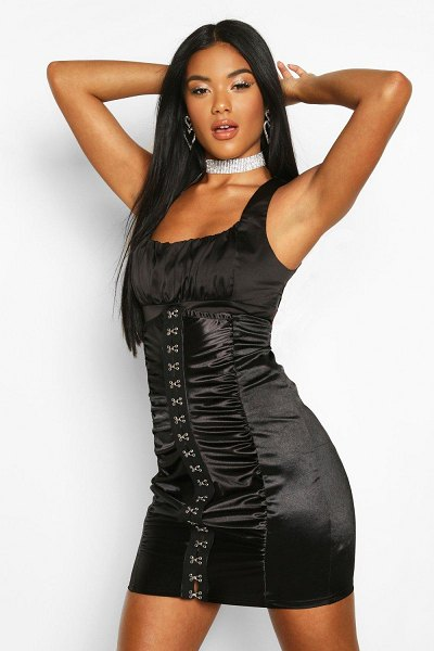 Boohoo Eyelet Lace Up Corset Mini Skirt in black