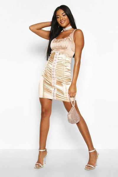 Boohoo Eyelet Lace Up Corset Mini Skirt in nude