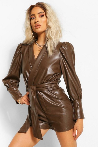 Boohoo Faux Leather Pu Wrap Belted Romper in chocolate