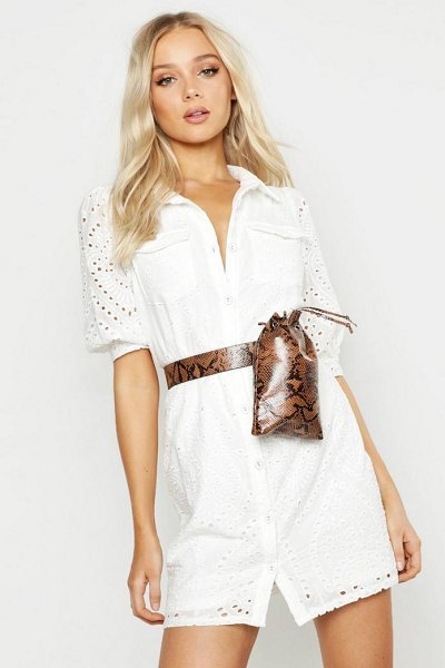Boohoo Faux Python Duffle Belt Bag in natural - Add attitude with accessories for those fashion-forward...