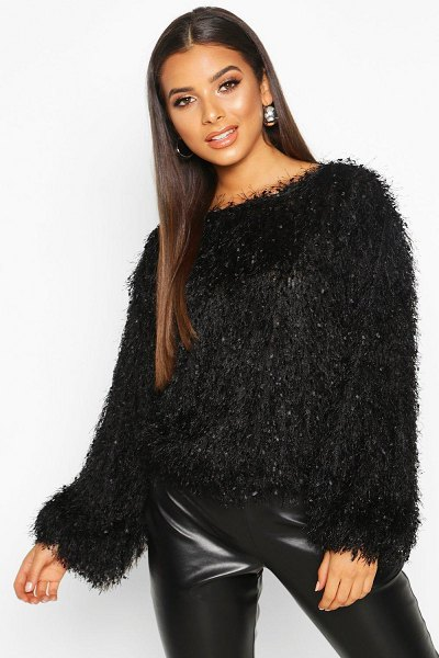 Boohoo Feather Knit sweater in black