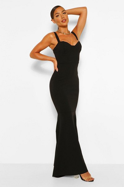 Boohoo Fitted Fishtail Maxi Bridesmaid Dress in black