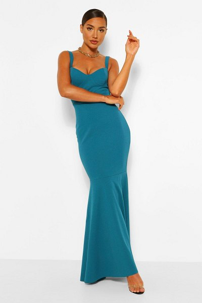 Boohoo Fitted Fishtail Maxi Bridesmaid Dress in teal