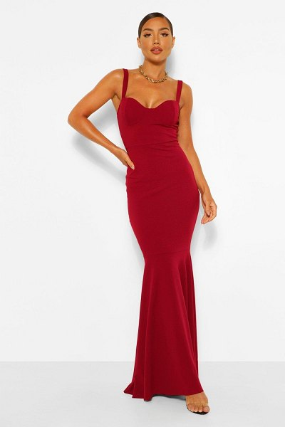 Boohoo Fitted Fishtail Maxi Bridesmaid Dress in berry