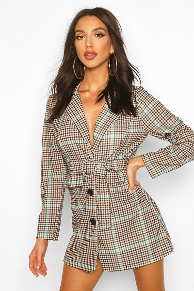 Boohoo Flannel Belted Blazer Dress in chocolate