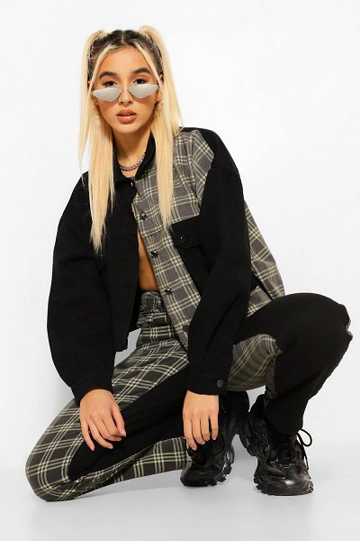 Boohoo Flannel Contrast Oversized Jean Jacket in black