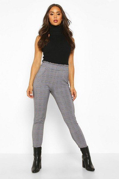 Boohoo flannel Trouser With Paperbag Waist And Pocket in blue