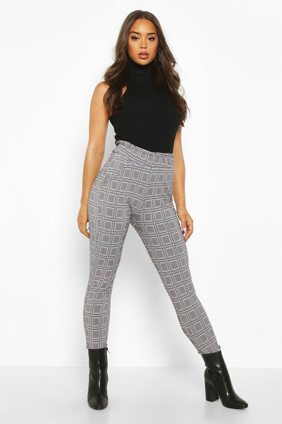 Boohoo flannel Trouser With Paperbag Waist And Pocket in black