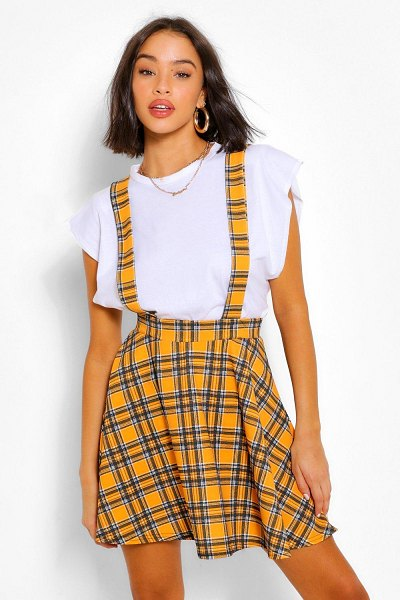 Boohoo Flanneled Pinafore Flippy Skirt in mustard