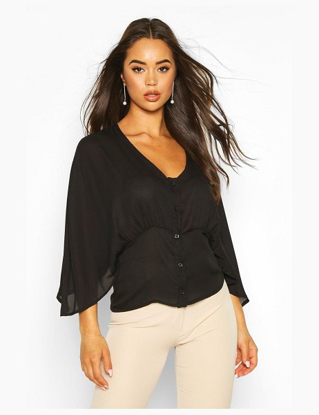 Boohoo Flared Sleeve Button Through Woven Blouse in black
