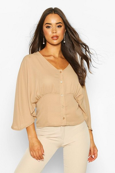 Boohoo Flared Sleeve Button Through Woven Blouse in taupe