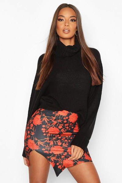 Boohoo Floral Asym Mini Skirt in black