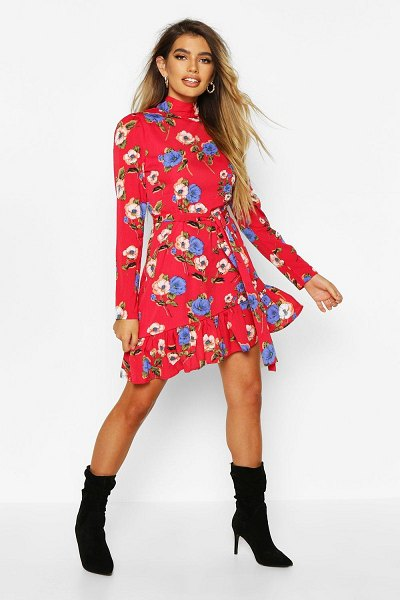 Boohoo Floral High Neck Tie Waist Skater Dress in red