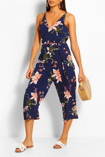 Boohoo Floral Jumpsuit in navy