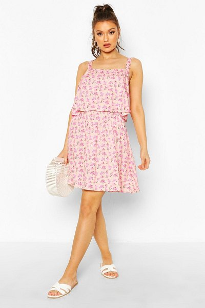 Boohoo Floral Print Double Frill Skater Dress in blush