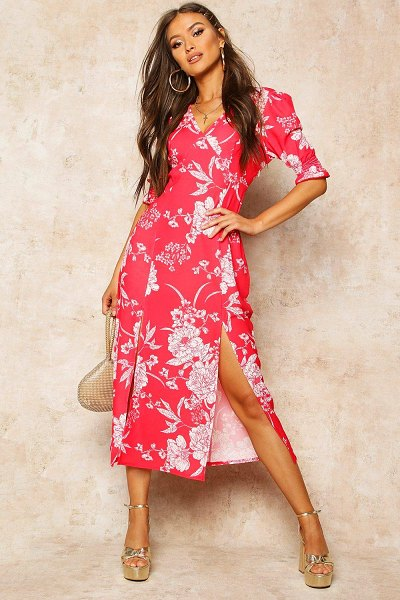 Boohoo Floral Print Double Split Midi Dress in red