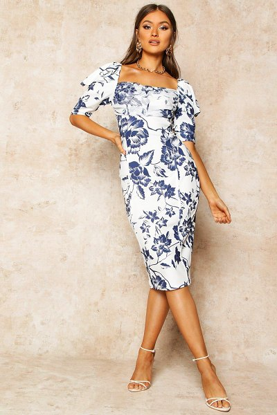 Boohoo Floral Print Puff Sleeve Drape Detail Midi Dress in blue