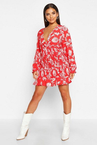Boohoo Floral Print Shirred Skirt Mini Dress in red