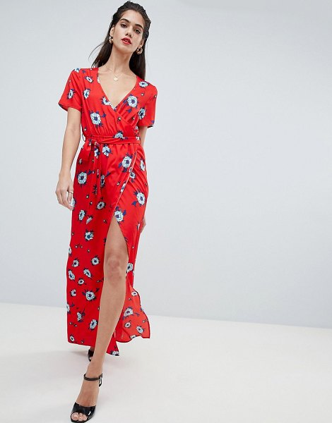 Boohoo exclusive floral wrap dress with thigh split in multi