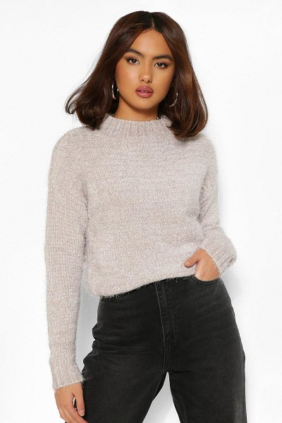 Boohoo Fluffy Knit Sweater in grey