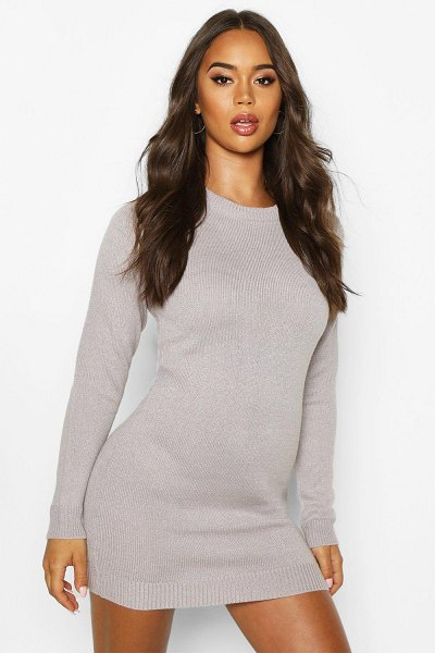 Boohoo Fluffy Turn Up Cuff V Neck sweater in grey