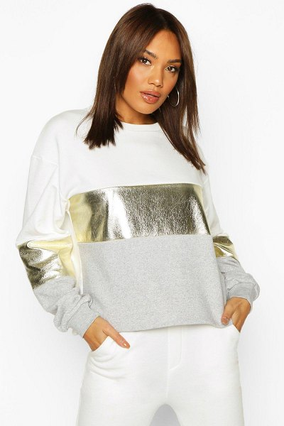 Boohoo Foil Panel Colour Block Sweat in ivory