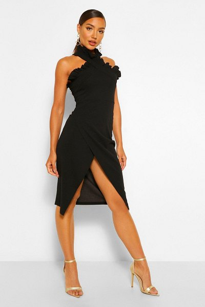 Boohoo Frill Edge Wrap Over Midi Dress in black