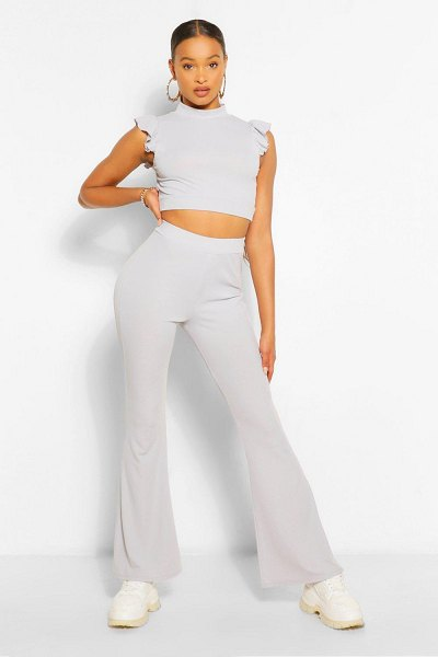 Boohoo Frill Shoulder Top And Flare Trouser Co-Ord in silver grey