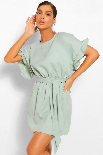 Boohoo Frill Sleeve Belted Shift Dress in sage